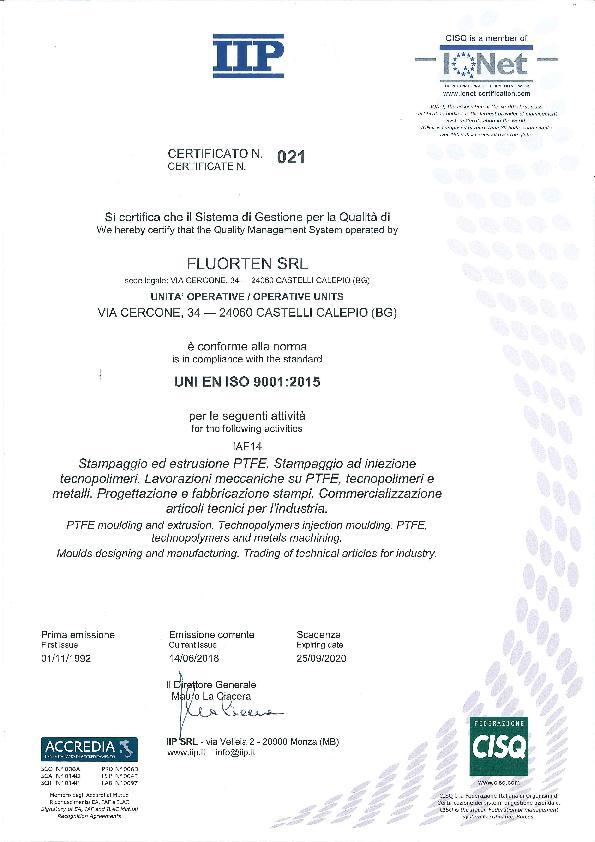 Immagine FLUORTEN Certificazione ISO 9001:2015