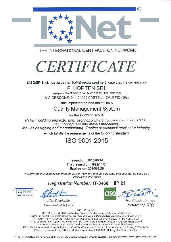 Immagine FLUORTEN Certificate ISO 9001:2015