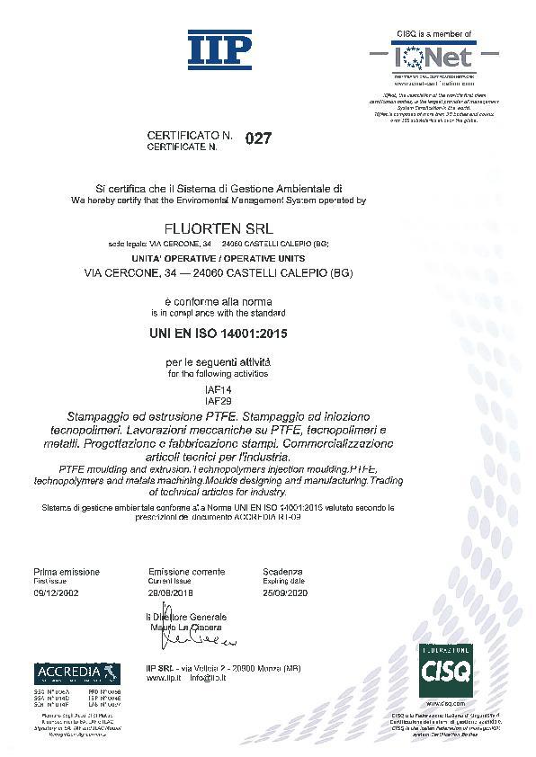 Immagine FLUORTEN Certificazione ISO 14001:2015