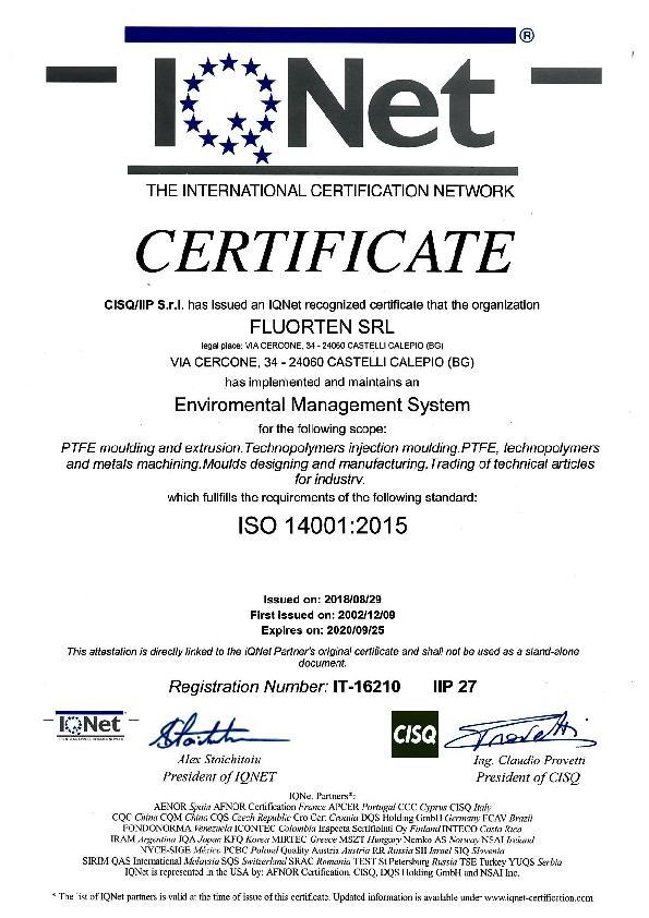 Immagine FLUORTEN Certificate ISO 14001:2015