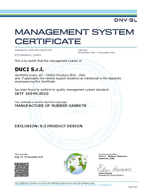 Immagine DUCI Certificate IATF 16949:2016