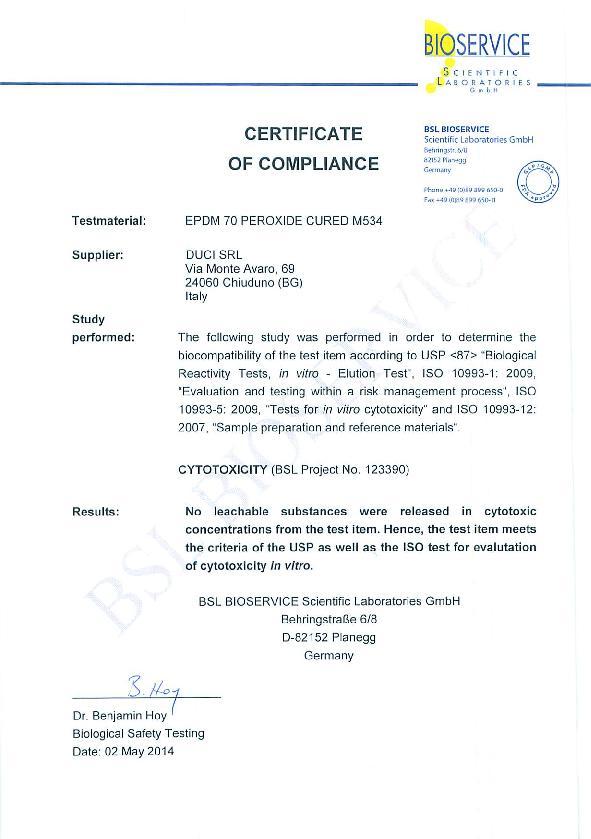 Immagine DUCI Certificate USP CLASS VI