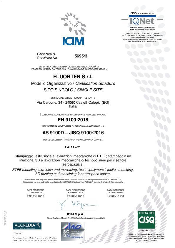 Immagine FLUORTEN Certificate EN 9100:2018